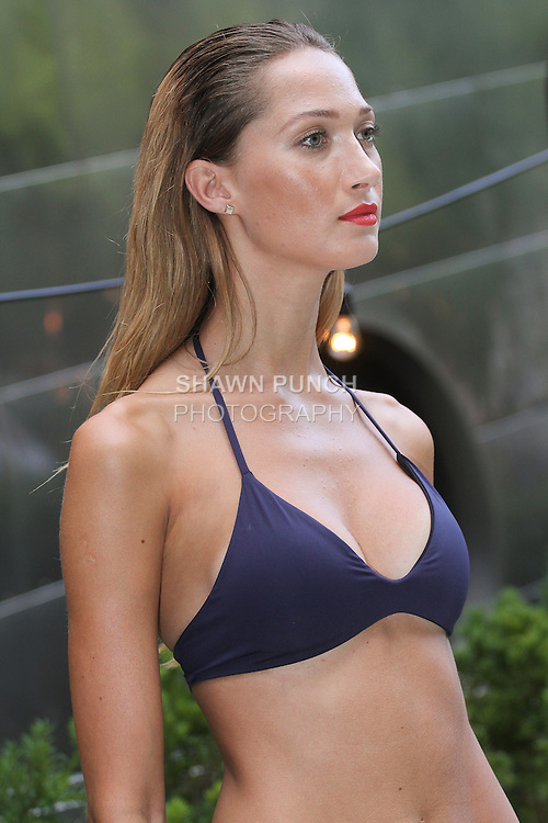 Model poses in swimwear from the Nautica Women's 2016 Swim collection, at Dream Downtown in New York City, August 26, 2016.