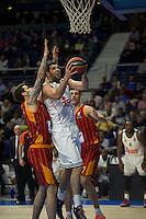 Real Madrid´s Felipe Reyes and Galatasaray´s Micov and Erceg during 2014-15 Euroleague Basketball match between Real Madrid and Galatasaray at Palacio de los Deportes stadium in Madrid, Spain. January 08, 2015. (ALTERPHOTOS/Luis Fernandez) /NortePhoto /NortePhoto.com