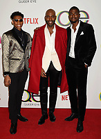 WEST HOLLYWOOD, CA - FEBRUARY 07: (L-R) Chris Brown, Karamo Brown and Jason Brown attend the premiere of Netflix's 'Queer Eye' Season 1 at Pacific Design Center on February 7, 2018 in West Hollywood, California.<br /> CAP/ROT/TM<br /> &copy;TM/ROT/Capital Pictures