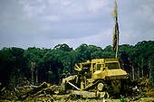Para State, Amazon, Brazil; bulldozer clearing forest.