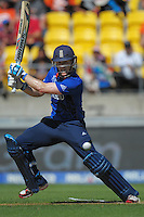 Eoin Morgan bats during the ICC Cricket World Cup one day pool match between the New Zealand Black Caps and England at Wellington Regional Stadium, Wellington, New Zealand on Friday, 20 February 2015. Photo: Dave Lintott / lintottphoto.co.nz