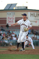 Andrew Thome (34) of the Lancaster JetHawks pitches against the Bakersfield Blaze at The Hanger on June 18, 2016 in Lancaster, California. Bakersfield defeated Lancaster, 10-7. (Larry Goren/Four Seam Images)