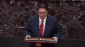 In this image from United States Senate television, White House Counsel Jay Sekulow makes arguments against the removal from office of US President Donald J. Trump during the President's impeachment trial in the US Senate in the US Capitol in Washington, DC on Saturday, January 25, 2020.<br /> Mandatory Credit: US Senate Television via CNP