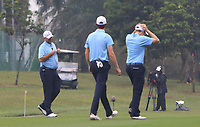 Thomas Bjorn (Captain Team Europe) with Thomas Pieters (Europe) and Matthew Fitzpatrick (Europe) on the 6th fairway during the Saturday Foursomes of the Eurasia Cup at Glenmarie Golf and Country Club on the 13th January 2018.<br /> Picture:  Thos Caffrey / www.golffile.ie