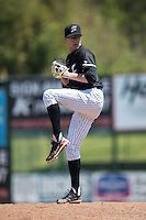 Kannapolis Intimidators relief pitcher Matt Ball (23) in action against the Delmarva Shorebirds at Kannapolis Intimidators Stadium on April 13, 2016 in Kannapolis, North Carolina.  The Intimidators defeated the Shorebirds 8-7.  (Brian Westerholt/Four Seam Images)