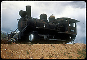 3/4 view of abandoned engine (2-4-0 ?)<br /> D&amp;RGW  ?