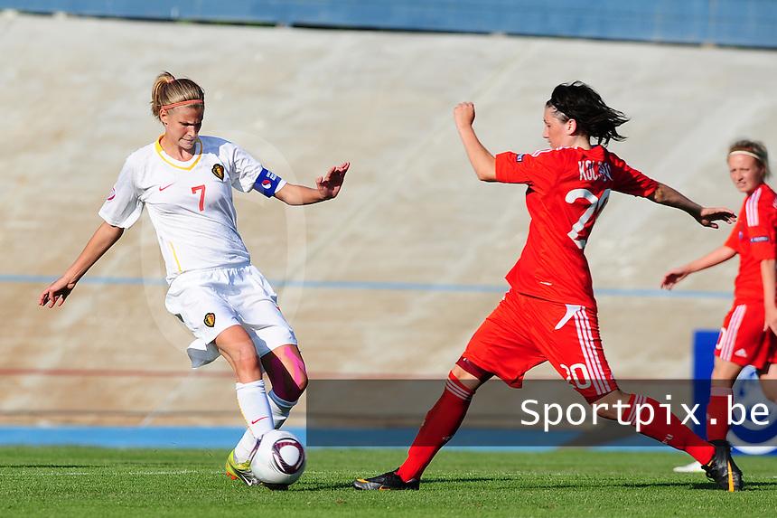 European Women's Under - 19 Championship 2011 Italy : Russia - Belgium U19 : Justine Vanhaevermaet in duel met Nadezhda Koltakova.foto DAVID CATRY / VROUWENTEAM.BE