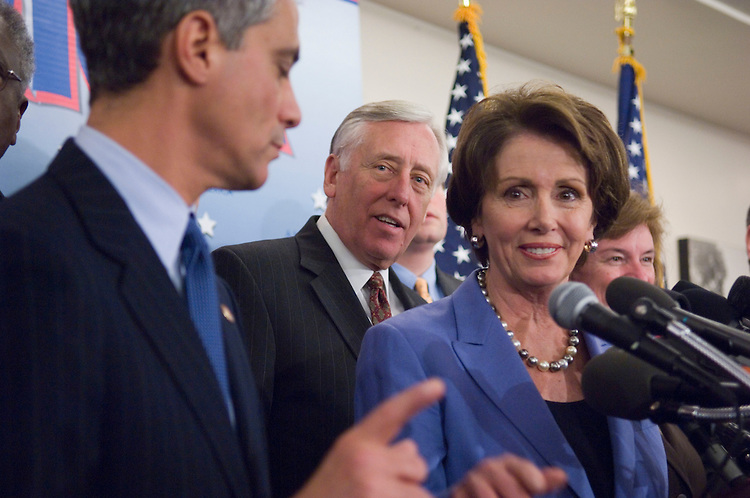 "01/18/07--DCCC Chairman Rahm Emanuel, D-Ill., House Majority Leader Steny Hoyer, D-Md., House Speaker Nancy Pelosi, D-Calif., and other House Democrats during a news conference on the completion of the first 100 legislative hours of the 110th Congress. They touted their ""100 Hours for a New Direction,"" citing the passage of an ethics package; fiscal legislation; implementation of 9/11 Commission recommendations; an increase in the minimum wage; legislation allowing the expansion of stem cell research; negotiation for prescription drugs; lower interest rates on student loans; and energy legislation. Congressional Quarterly Photo by Scott J. Ferrell"
