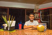 Honduras, Roatan Island, Fantasy Island Resort, Caribbean. Bar tender at the hotel.