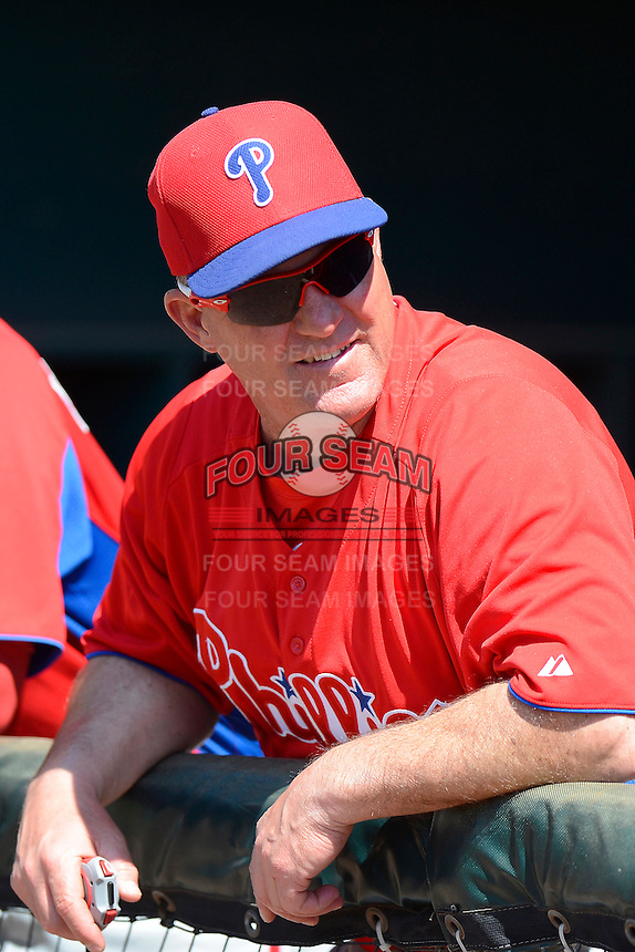 Philadelphia Phillies coach Greg Legg before a minor league Spring Training game against the Atlanta Braves at Al Lang Field on March 14, 2013 in St. Petersburg, Florida.  (Mike Janes/Four Seam Images)