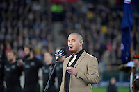 Singer Stan Walker during the All Blacks v Wallabies. The Rugby Championship &amp; Bledisloe Cup at Westpac Stadium, Wellington, New Zealand on Saturday 27 August 2016.<br /> Photo by Masanori Udagawa. <br /> www.photowellington.photoshelter.com.