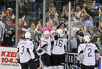 San Antonio Rampage players celebrate a goal during the third period of an AHL hockey game against the Oklahoma City Barons, Friday, May 11, 2012, in San Antonio. Oklahoma City won 4-3. (Darren Abate/pressphotointl.com)