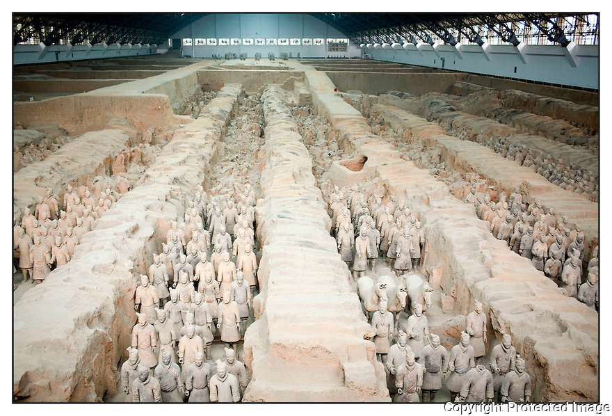 Chine<br /> X'ian<br /> Mausol&eacute;e de l'empereur Qin<br /> Arm&eacute;e de terre cuite