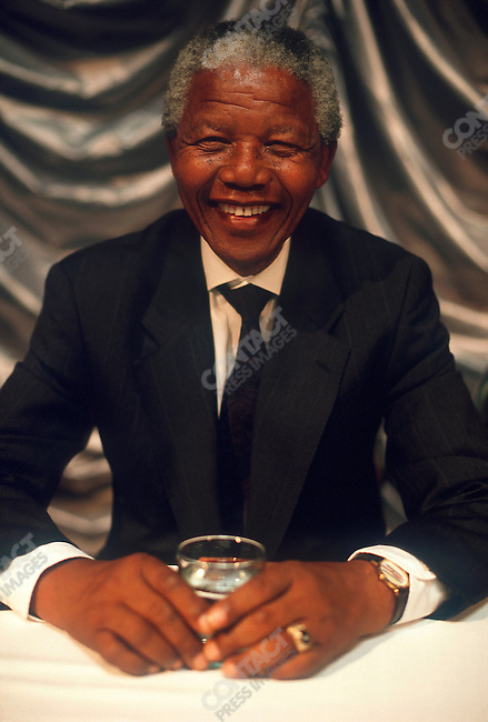 Nelson Mandela, leader of the African National Congress (ANC), makes a campaign stop at the University of Boputhatswana during his campaign for presidency of South Africa. Boputhatswana, South Africa, March 1994.
