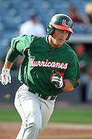 "Miami Hurricanes Rony Rodriguez #21 during a game vs. the University of South Florida Bulls in the ""Florida Four"" at George M. Steinbrenner Field in Tampa, Florida;  March 1, 2011.  USF defeated Miami 4-2.  Photo By Mike Janes/Four Seam Images"