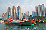 Hong Kong harbour  Fishing trawlers at anchor in Aberdeen harbour, Hong Kong