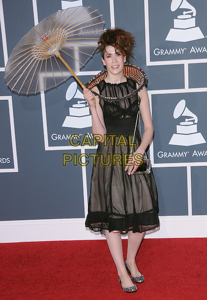 IMOGEN HEAP.Arrivals at the 52nd Annual GRAMMY Awards held at The Staples Center in Los Angeles, California, USA..January 31st, 2010.grammys full length black sheer dress umbrella paper sleeveless collar handbag.CAP/RKE/DVS.©DVS/RockinExposures/Capital Pictures