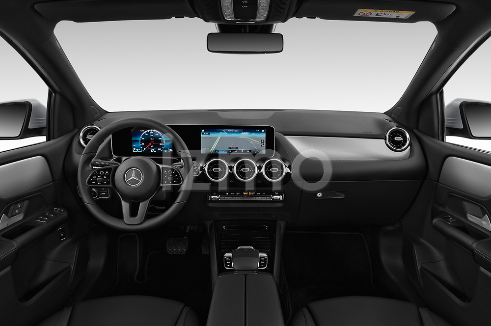 Stock photo of straight dashboard view of 2019 Mercedes Benz B-Class - 5 Door Mini Mpv Dashboard