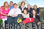 """Pictured at the launch of the Killarney Community College greyhound night which will be held on the 5th October were Cllr Terry O'Brien, Fiona O'Brien, principal, Michelle O'Donoghue Malone, Philomena Marshal, Tim Cotter, Noreen O'Brien, Sean Buckley and Stella Loughnane and """"Killaha Crash"""". ................................................................................................"""