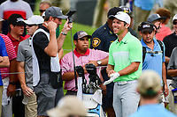 Paul Casey (GBR) shares a laugh with his caddie on the 3rd tee box during round 4 of the Dean &amp; Deluca Invitational, at The Colonial, Ft. Worth, Texas, USA. 5/28/2017.<br /> Picture: Golffile | Ken Murray<br /> <br /> <br /> All photo usage must carry mandatory copyright credit (&copy; Golffile | Ken Murray)