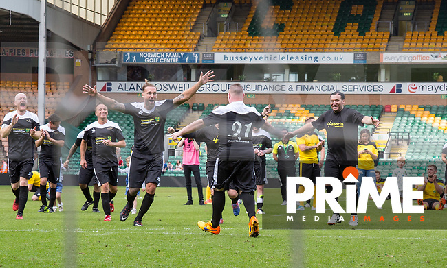 Celebrations as Jamie scores the winning Penalty during the Sellebrity Soccer Jamie's Game 5 for Charity Community Sports Foundation (CSF) at Norwich City FC Carrow Road, Norwich, England on 21 May 2017. Photo by Kevin Prescod.