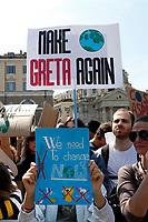 Banners make the world greta again<br /> Rome April 19th 2019. Fridays for Future Climate Strike in Rome, Piazza del Popolo.<br /> photo di Samantha Zucchi/Insidefoto