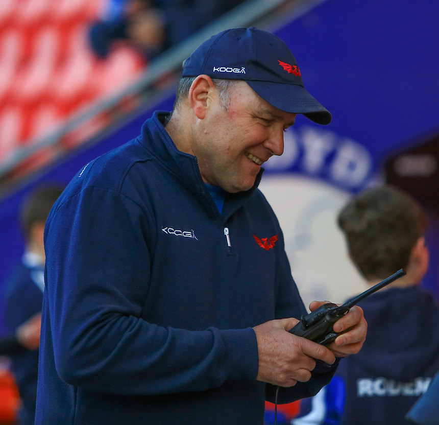 Scarlets' Head Coach Wayne Pivac at the beginning of the game.<br /> <br /> Photographer Dan Minto/CameraSport<br /> <br /> Guinness PRO12 Round 19 - Scarlets v Benetton Treviso - Saturday 8th April 2017 - Parc y Scarlets - Llanelli, Wales<br /> <br /> World Copyright &copy; 2017 CameraSport. All rights reserved. 43 Linden Ave. Countesthorpe. Leicester. England. LE8 5PG - Tel: +44 (0) 116 277 4147 - admin@camerasport.com - www.camerasport.com