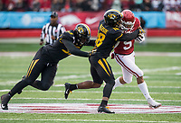 Hawgs Illustrated/BEN GOFF <br /> Tre Williams (93), Missouri defensive end, and Joshuah Bledsoe, Missouri free safety, tackle Rakeem Boyd, Arkansas running back, in the first quarter Saturday, Nov. 29, 2019, at War Memorial Stadium in Little Rock.