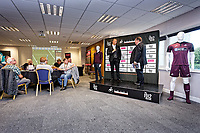 Kevin Johns speaks to Lee Trundle in the 1912 Lounge prior to the Sky Bet Championship match between Swansea City and Bristol City at the Liberty Stadium, Swansea, Wales, UK. Saturday 25 August 2018