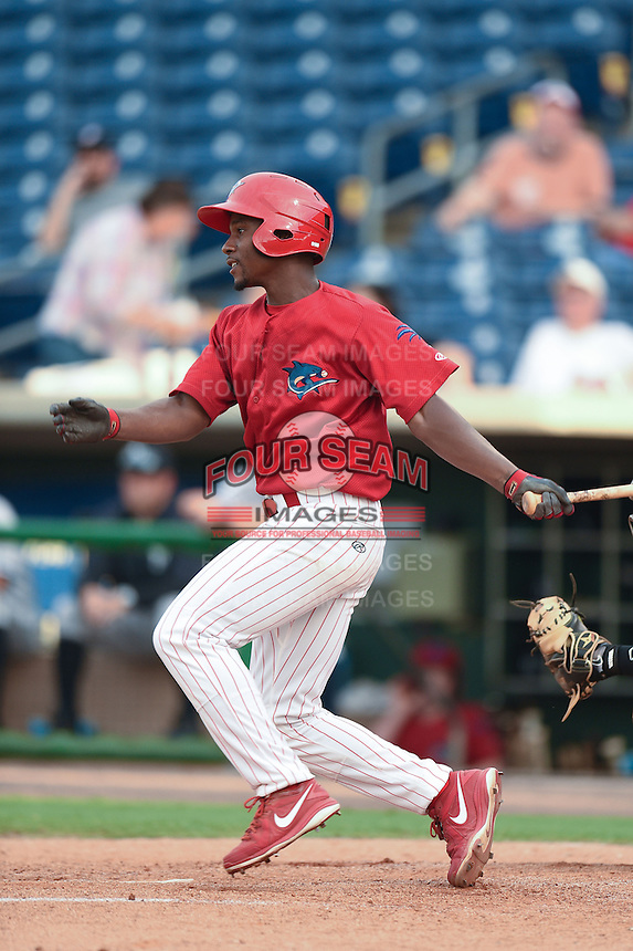 Clearwater Threshers outfielder Brandon Short (12) at bat during a game against the Tampa Yankees on June 26, 2014 at Bright House Field in Clearwater, Florida.  Clearwater defeated Tampa 4-3.  (Mike Janes/Four Seam Images)