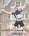 The Gazette C.H. Flowers' Dwayne Powell jumps a 6th best 7.00 meters in the High School Boys' Long Jump Championship at the Penn Relays in Philadelphia on Saturday afternoon.