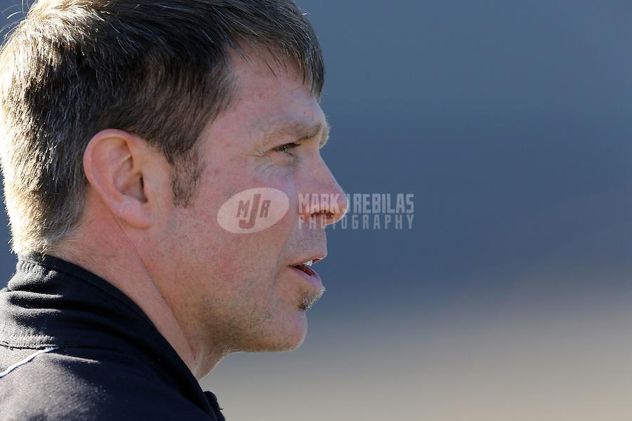 Mar. 1, 2013; Avondale, AZ, USA; NASCAR Sprint Cup Series driver Scott Riggs during qualifying for the Subway Fresh Fit 500 at Phoenix International Raceway. Mandatory Credit: Mark J. Rebilas-