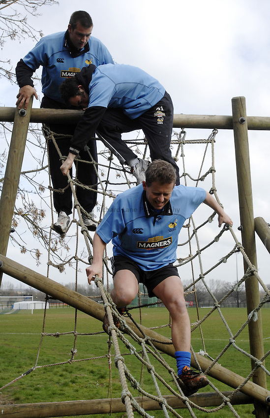 Photo: Richard Lane..Photoshoot of London Wasps taking part on a Magners Assault Course at Harrow School. 20/03/2007. .Mike Bushell.