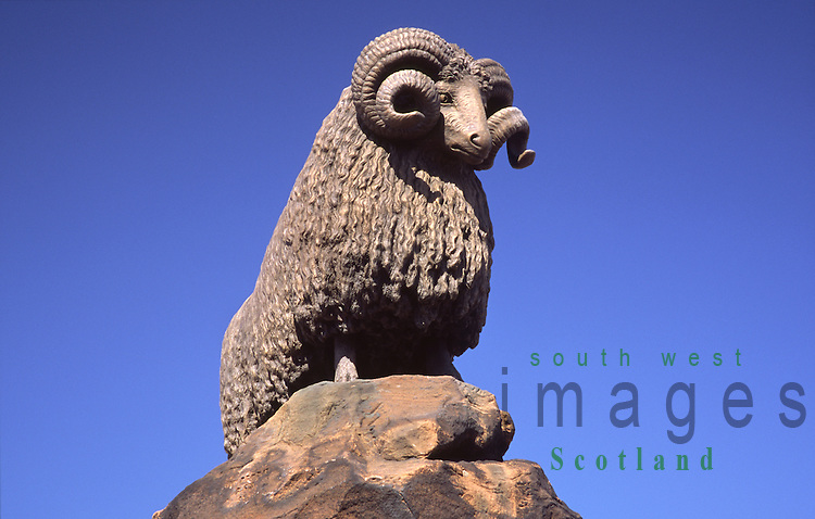 Moffat monument of Ram commemorating Moffats wool trade made by William Brodie Scotland UK