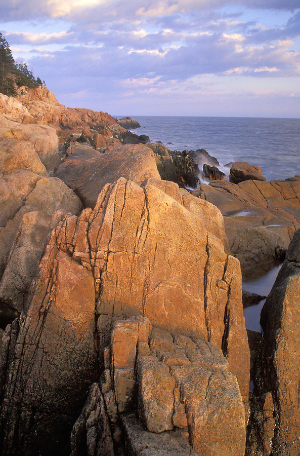 Rocky shoreline along Atlantic Ocean at sunset, Acadia National Park, Maine