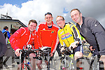 Members of the Emergency Services who took part in a charity cycle in aid of The Brothers of Charity and The Cheshire Home, Newcastle West, pictured here last Saturday at Abbeyfeale fire station was l-r: Noel Corbert and Stephen Hurley(Castlemahon) and Gearoid and Brian Whealan(Newcastle West)