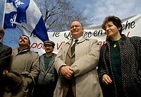 FILE -<br /> Jacques Parizeau lors de la marche pour l'independance, avril 1988 (date exacte inconnue)<br /> <br /> <br /> PHOTO  : Pierre Roussel - Agence Quebec Presse