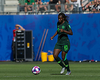 GRENOBLE, FRANCE - JUNE 22: Ngozi Okobi #13 of the Nigerian National Team dribbles during a game between Nigeria and Germany at Stade des Alpes on June 22, 2019 in Grenoble, France.