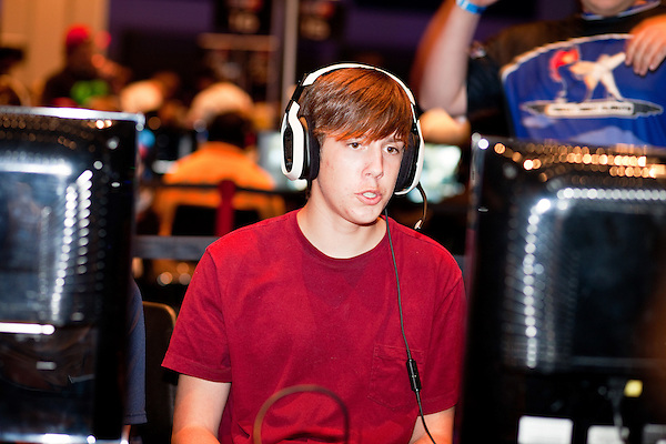 August 27, 2010. Raleigh, North Carolina.. Faces of amateur Halo 3 players as they compete.. Major League Gaming (MLG), the league for professional videogame players, held their 50th Pro Circuit competition at the Raleigh Convention Center, with gamers from all over the country coming to for 3 days of competition in Halo 3, Tekken 6, Super Smash Bros. Brawl, Starcraft 2 and World of Warcraft.