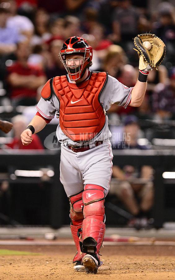 Aug. 28, 2012; Phoenix, AZ, USA: Cincinnati Reds catcher Ryan Hanigan against the Arizona Diamondbacks at Chase Field. Mandatory Credit: Mark J. Rebilas-