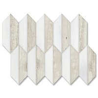 Fairfax is a handmade mosaic shown in polished Dolomite and Whitewood, is part of The Studio Line of Ready to Ship mosaics.