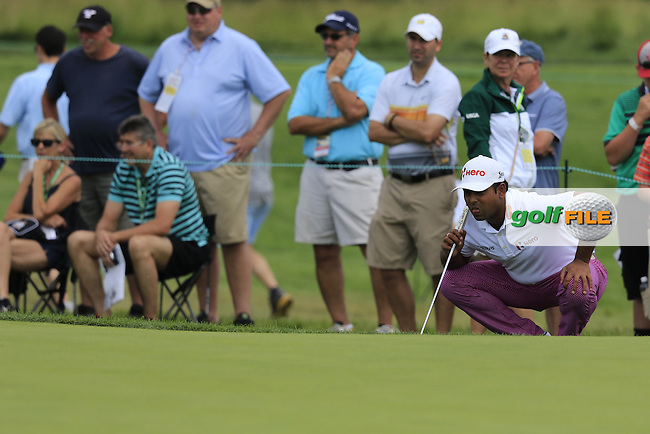 Anirban Lahiri (IND) at the 10th green during Friday's Round 1 of the 2016 U.S. Open Championship held at Oakmont Country Club, Oakmont, Pittsburgh, Pennsylvania, United States of America. 17th June 2016.<br /> Picture: Eoin Clarke | Golffile<br /> <br /> <br /> All photos usage must carry mandatory copyright credit (&copy; Golffile | Eoin Clarke)