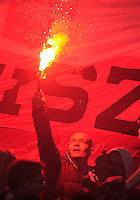 29th March 2015; UEFA EURO 2016 Championship Qualifier Group D, Ireland vs Poland, Aviva Stadium, Dublin<br /> A Poland supporter hold up a flare.<br /> Picture credit: Tommy Grealy/actionshots.ie.