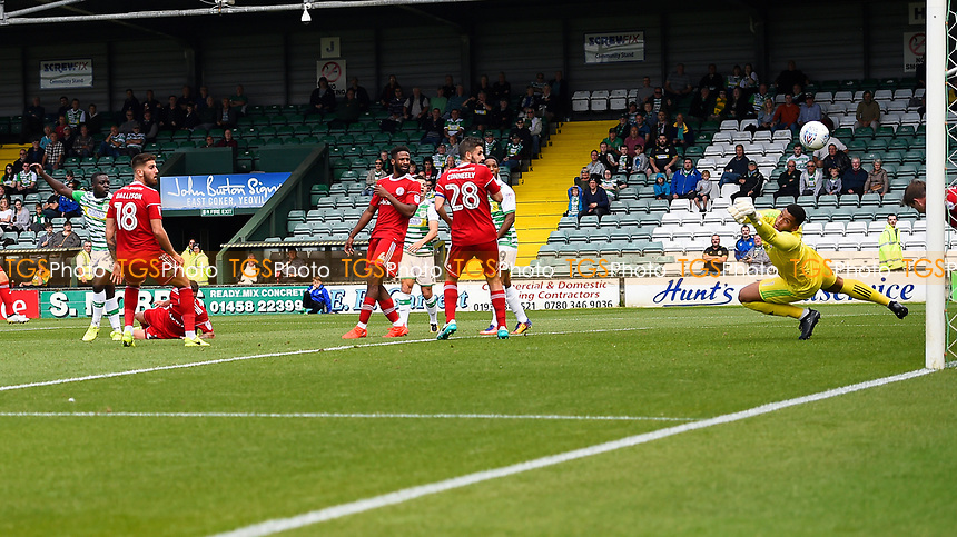Olufela Olomola of Yeovil Town left scores to make the score 1-1 during Yeovil Town vs Accrington Stanley, Sky Bet EFL League 2 Football at Huish Park on 12th August 2017