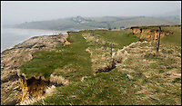 BNPS.co.uk (01202 558833).Pic: RachelAdams/BNPS..Massive slip at Bowleaze Cove near Weymouth...Unprecedented weather takes its toll on Britains crumbling coast...The South West coast path is under threat after a series of landslips and cliff falls have left the Jurassic coast World Heritage site with some dinosaur sized clefts and chasm's...Walkers could soon face being deprived of some of the country's most beautiful views after the prolonged cold and wet winter has led to a series of devastating landslides...Since last April heavy rain has caused several landslides on large sections of the Jurassic Coast in Dorset, forcing authorities to close parts of the popular coastal path...Last July holidaymaker Charlotte Blackman, 22, was killed when a landslide caused 400 tons of rocks to fall on her from above as she walked along a beach at Burton Bradstock...And a recent landslide at popular tourist spot Durdle Door means sections of the nearby coastal path overlooking the famous sight have been closed due to safety concerns...On that occasion around 400 tons of chalk rock covered the beach below after collapsing from the 90-million-years-old cliff...Fresh cliff falls and cracks appeared along the coast on Sunday as coastguards issued a warning saying the pathway is falling away.