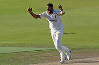 Jeetan Patel of Warwickshire celebrates taking the wicket of Sir Alastair Cook during Warwickshire CCC vs Essex CCC, Specsavers County Championship Division 1 Cricket at Edgbaston Stadium on 11th September 2019