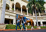 HALLANDALE BEACH, FL - JANUARY 25: Gun Runner schools in the paddock in between races as horses prepare for the Pegasus World Cup Invitational at Gulfstream Park Race Track on January 25, 2018 in Hallandale Beach, Florida. (Photo by Scott Serio/Eclipse Sportswire/Breeders Cup)