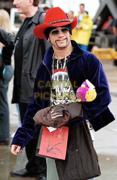 THE BACKSTREET BOYS..In Australia..Ref: IJ(CD)..boyband, cowboy hat, stetson, presents, toy, half length, half-length, sunglasses, shades..www.capitalpictures.com..sales@capitalpictures.com..©Capital Pictures..