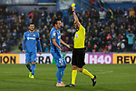 Getafe CF's Nemanja Maksimovic have words with the referee during La Liga match between Getafe CF and Valencia CF at Coliseum Alfonso Perez in Getafe, Spain. November 10, 2018.