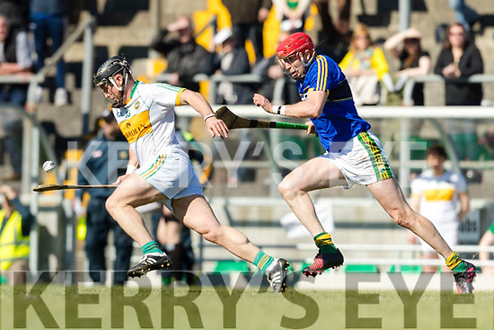 Patrick Kelly Kerry in action against Sean Ryan Offaly in the National Hurling League in Austin Stack Park, Tralee on Sunday.